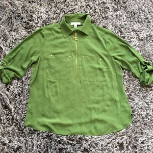 Michael Kors green blouse sz XL button down